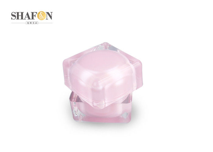 Pink Luxury Plastic Cosmetic Jars Double Wall Logo Painting With PP Inner