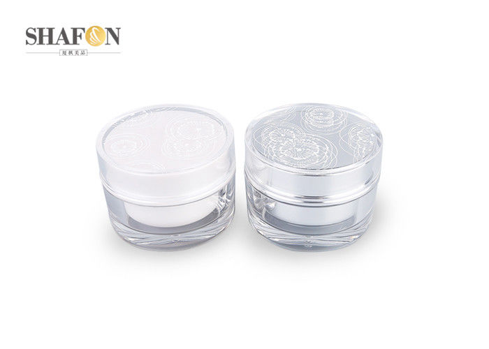 Flower Mark Cover Cosmetic Cream Jars , Empty Cosmetic Jars Eco - Friendly